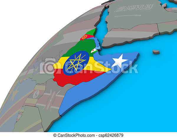 Horn of Africa with flags on 3D globe - csp62426879
