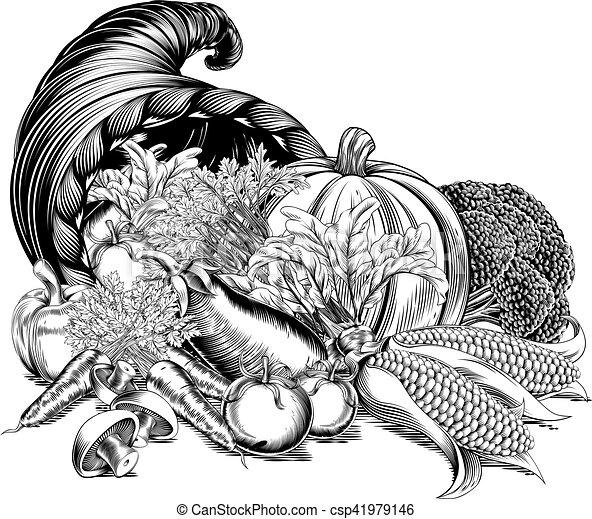 Horn of Plenty Cornucopia Woodcut - csp41979146