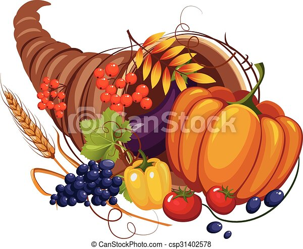 Horn of Plenty with Vegetables, Fruits, Stalks and Autumn Leaves, Vector - csp31402578