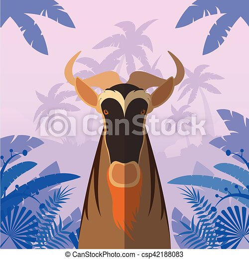 Horned Horse Gnu on the Jungle Background - csp42188083