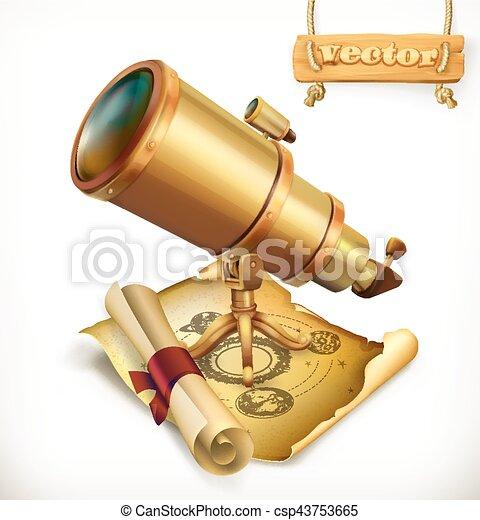 Horoscope and telescope. Astrology 3d vector icon - csp43753665