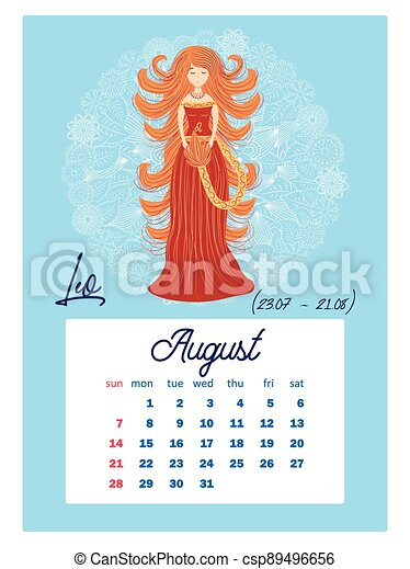 Zodiac Calendar 2022.Horoscope Vertical Calendar For 2022 Week Starts On Sunday A4 Format Zodiac Signs Capricorn Aquarius Aries Pisces Canstock