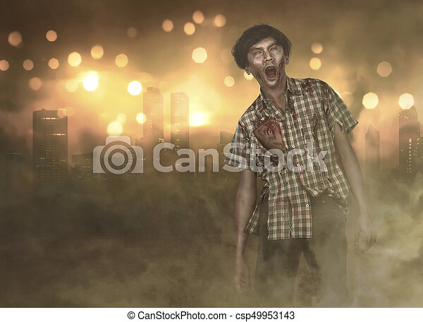 Horrible asian zombie man with wounded in the body standing on the burning city