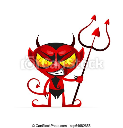 Horror Hot Imp Vector Cartoon Image Of Funny Red Devil With Horns