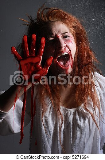 Horror Themed Image With bleeding frightened Woman - csp15271694