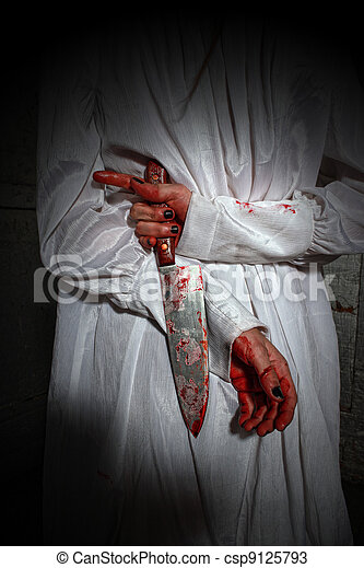 Horror Themed Image With Bleeding Frightened Woman - csp9125793