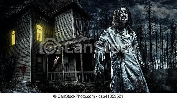 Horror zombie near the abandoned house  Halloween