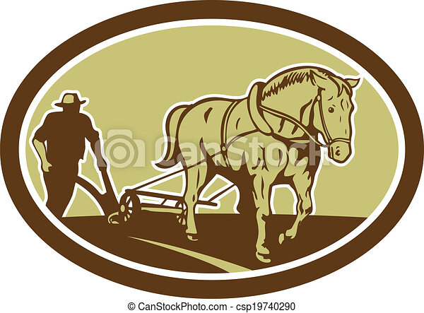 Horse and Farmer Plowing Farm Oval Retro - csp19740290