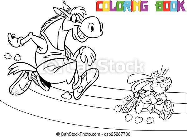 horse and hare on a treadmill - csp25287736