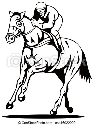 Horse And Jockey Racing Retro Illustration Of A Horse And Jockey