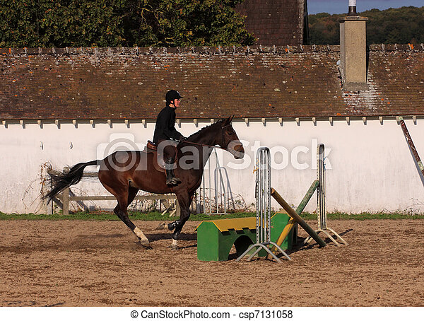 horse and rider has a jumping contest - csp7131058