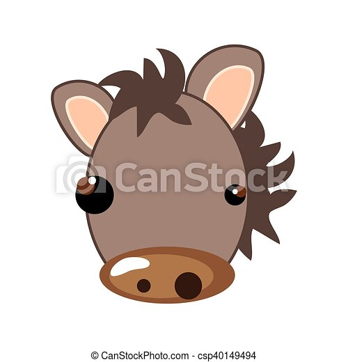Horse Animal Cartoon Horse Face With Brown Nose Animal Cartoon