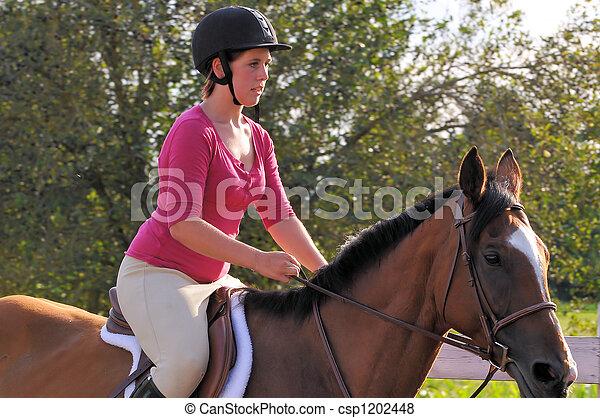 horse back rider female riding horse