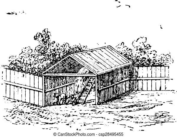 Horse Barn Vintage Engraving Vector