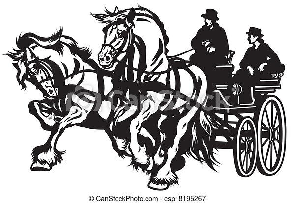 Horse Carriage Pair Horses Drawn Carriage Black And White Isolated
