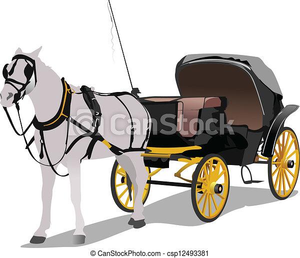 horse., carruagem, vindima, vetorial - csp12493381
