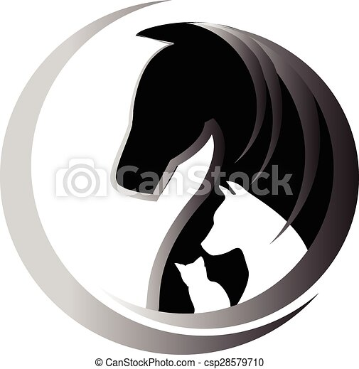 Horse cat and dog logo - csp28579710