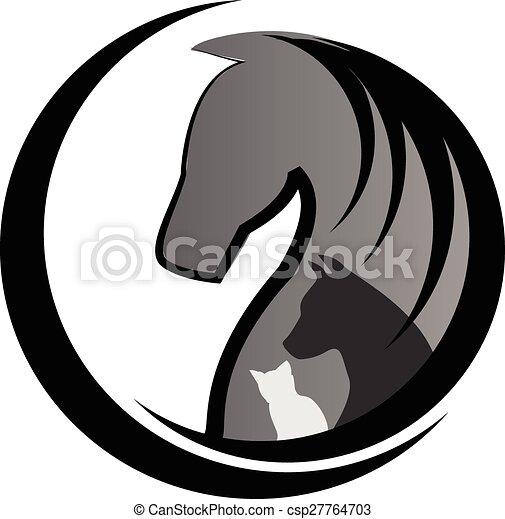 Horse cat and dog logo - csp27764703