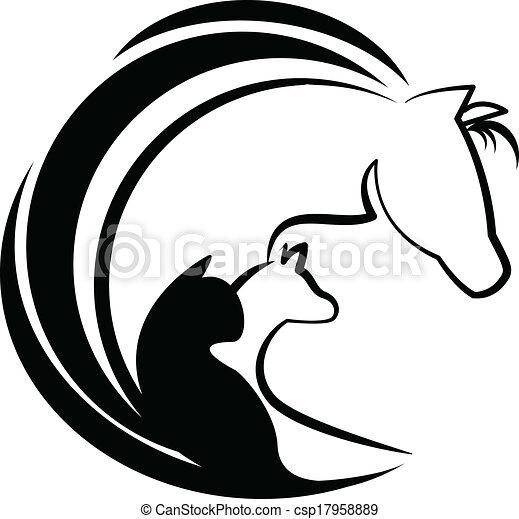 Horse cat and dog stylized logo - csp17958889