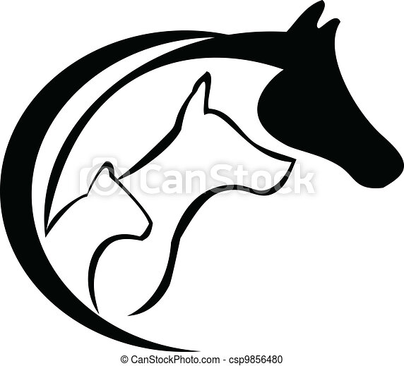 Horse, cat and dog - csp9856480