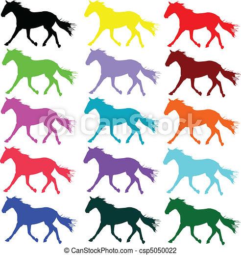 horse color vector silhouettes - csp5050022