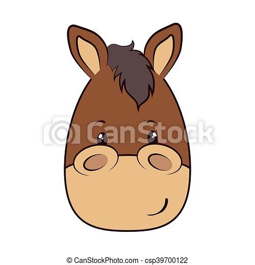 Horse Face Animal Cartoon Horse Face Animal Adorable Cartoon Mascot