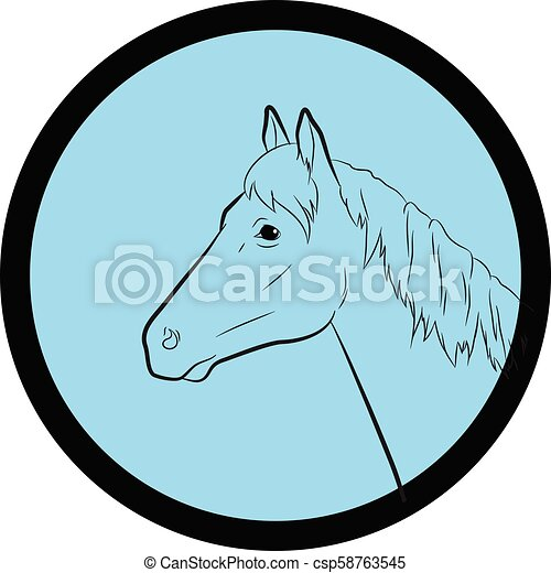 Horse Face Closeup Vector - csp58763545