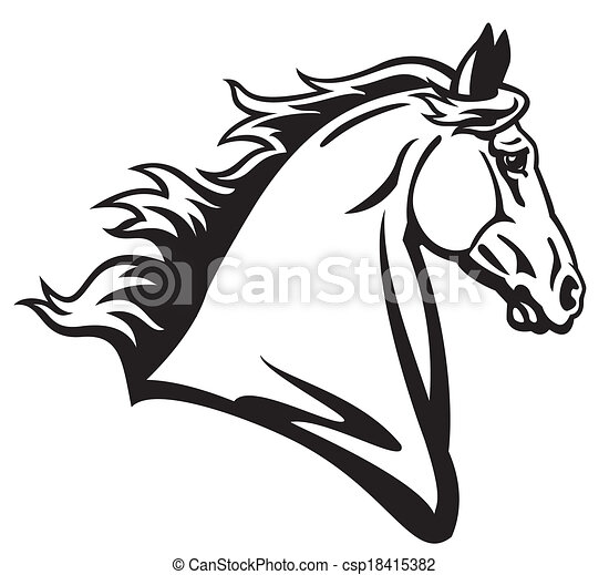 horse head side view black and white image vector search clip art rh canstockphoto com horse head vector png horse head vector logo