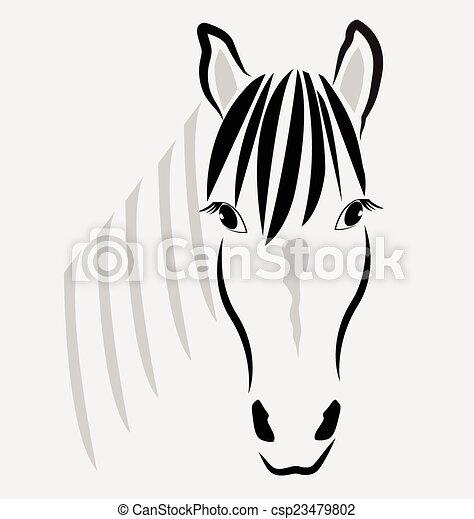 Horse head portrait logo vector - csp23479802