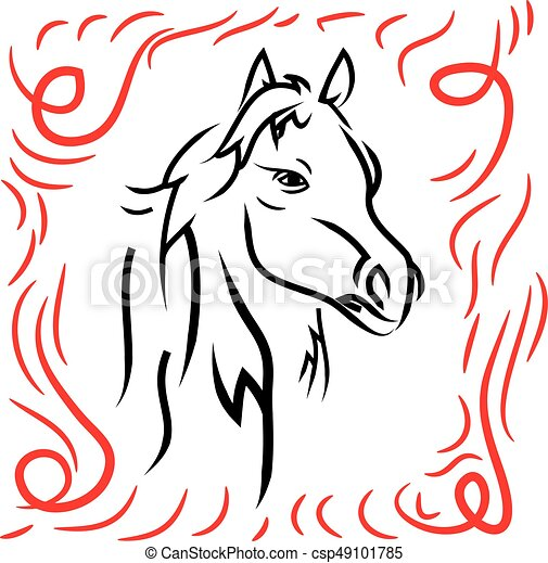 Horse head, silhouette on a white background. - csp49101785