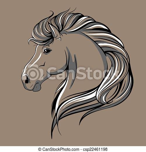 Horse head sketch - csp22461198