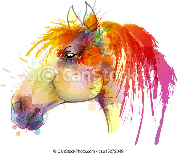 Horse head watercolor painting - csp15272049