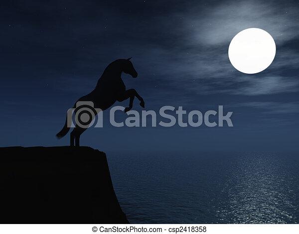 Horse in moonlight. - csp2418358