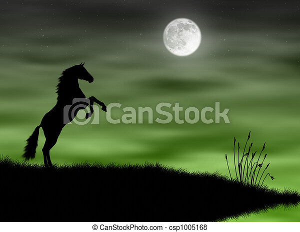 Horse in the moonlight - csp1005168