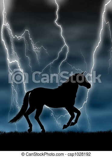 Horse in the storm - csp1028192