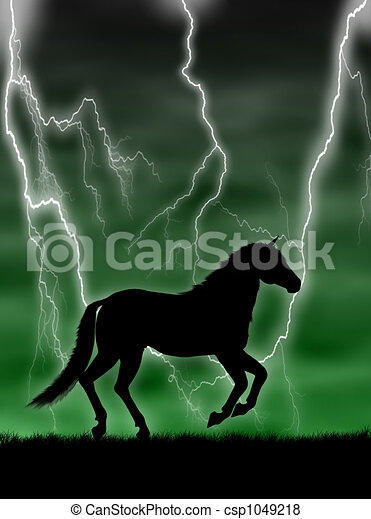 Horse in the storm - csp1049218