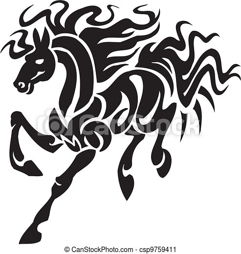 Horse in tribal style - vector illustration. - csp9759411