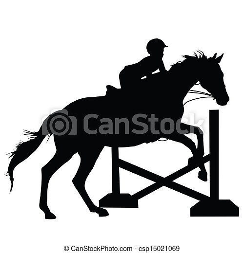 horse jumping silhouette silhouette of a child or young adult rh canstockphoto com horse rider jumping clipart horse jumping clipart black and white
