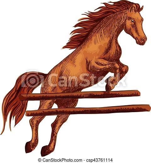 Horse Jumping Symbol For Equine Sport Horserace Brown Arabian