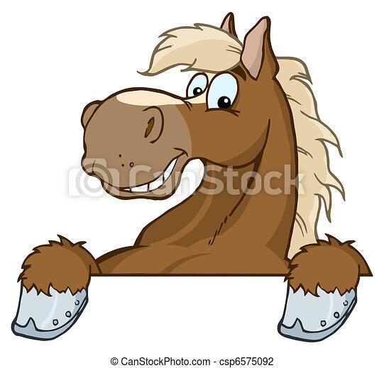 Horse Mascot Cartoon Head - csp6575092