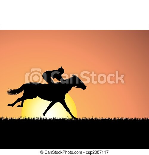 horse on sunset background - csp2087117