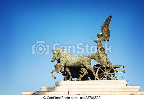 horse on top of Monument Vittorio Emanuele II, Rome, Italy - csp33766590