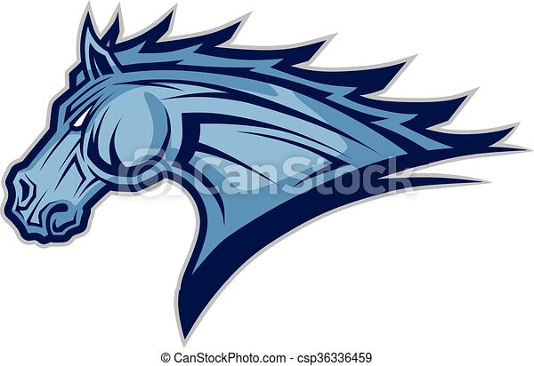 Horse or mustang head mascot. Clipart picture of a horse ...