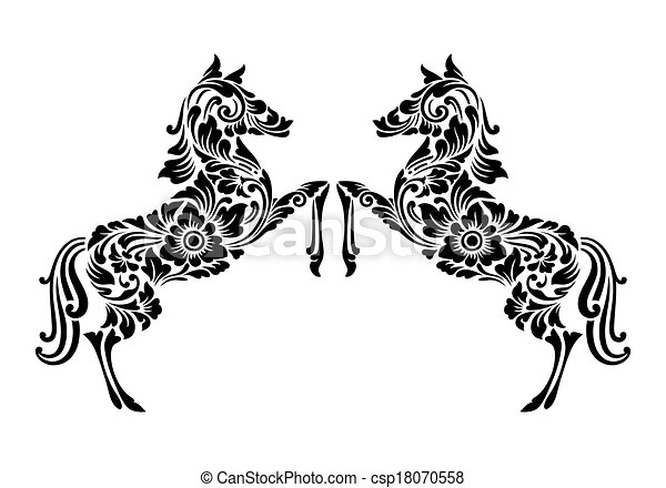 Horse Ornament Decoration Nice Clean And Smooth Vector Good Use
