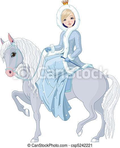 horse., paardrijden, prinsesje, winter - csp5242221