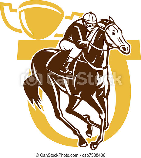 horse race jockey racing horseshoe  - csp7538406