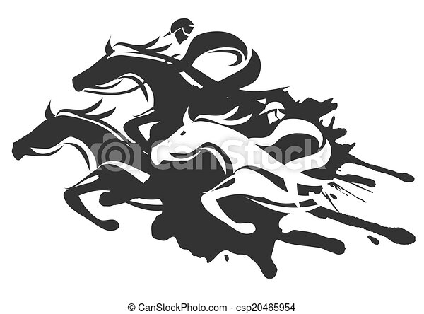 Horse Racing Illustration Of Horse Racing At Full Speed Black