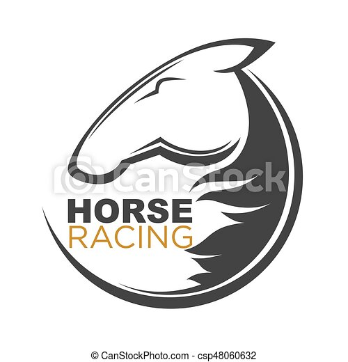 Horse racing logotype isolated illustration with animal outline