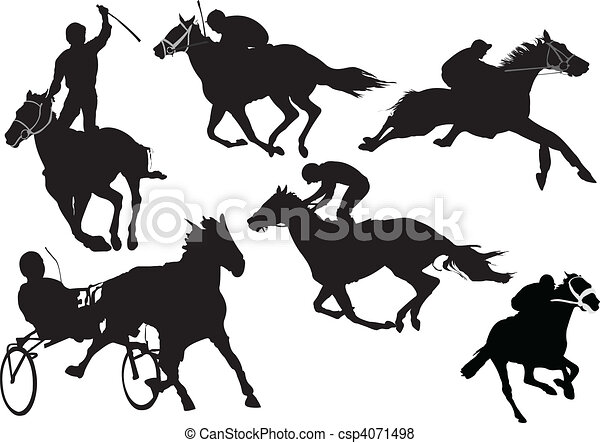 Horse  racing silhouettes. Colored - csp4071498