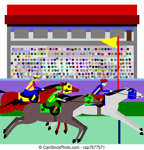 Horse Racing Illustration Of Cartoon Horses At A Track The